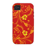 Whimsical Vines Flowers Butterfly Red iPhone 4/4s Case