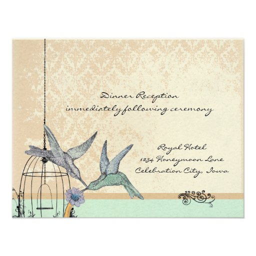 Whimsical Vintage Bird Cage Wedding Reception Card Invitations