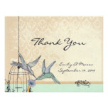 Whimsical Vintage Bird Cage Wedding Reception Card Announcement