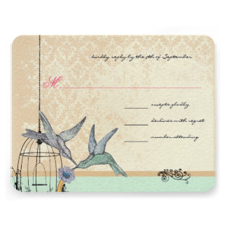 Whimsical Vintage Bird Cage Wedding RSVP Custom Announcement