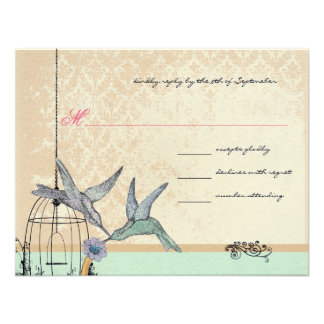 Whimsical Vintage Bird Cage Wedding RSVP Personalized Invitations