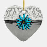 Whimsical Vintage Blue and Grey Daisy Double-Sided Heart Ceramic Christmas Ornament