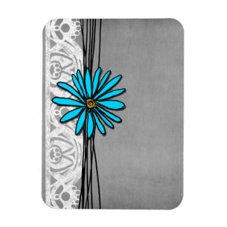 Whimsical Vintage Blue and Grey Daisy Rectangular Photo Magnet