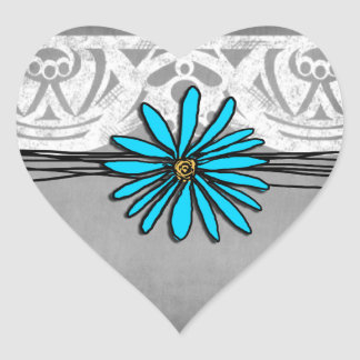 Whimsical Vintage Blue and Grey Daisy Stickers