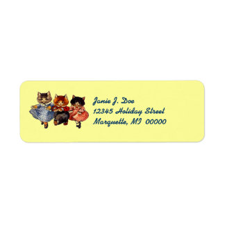 Whimsical Vintage Cat Cats Dancing Address Labels