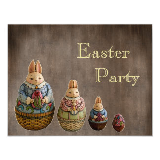 Whimsical Vintage Easter Bunnies Easter Party 4.25x5.5 Paper Invitation Card