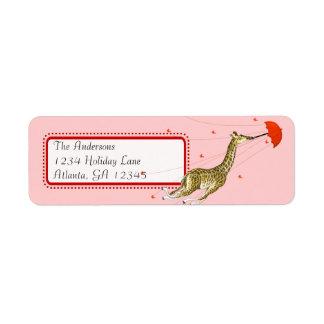 Whimsical Vintage Giraffe Return Address Return Address Label