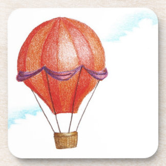 Whimsical Vintage Hot Air Balloon Beverage Coaster