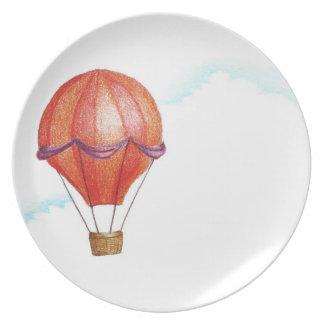 Whimsical Vintage Hot Air Balloon Dinner Plate