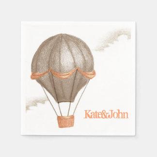 Whimsical Vintage Hot Air Balloon Disposable Napkin