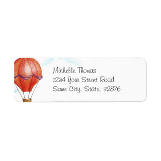 Whimsical Vintage Hot Air Balloon Return Address Label