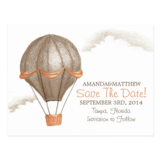 Whimsical Vintage Hot Air Balloon Save the Date Postcard