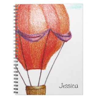 Whimsical Vintage Hot Air Balloon Spiral Notebook