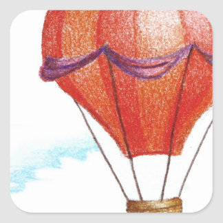 Whimsical Vintage Hot Air Balloon Square Sticker