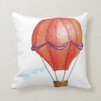 Whimsical Vintage Hot Air Balloon Throw Pillow