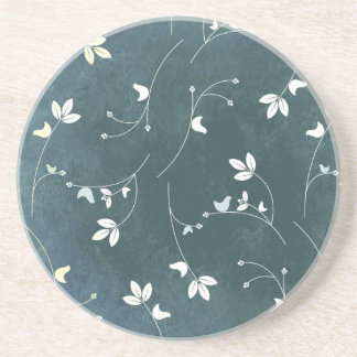 Whimsical Vintage Pattern with Birds and Leaves Coaster