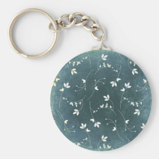 Whimsical Vintage Pattern with Birds and Leaves Keychain