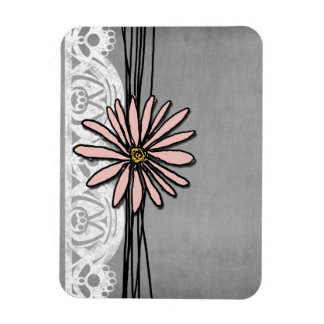 Whimsical Vintage Pink and Grey Daisy Rectangular Photo Magnet