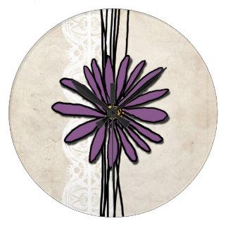 Whimsical Vintage Purple Daisy Wall Clocks