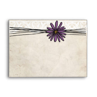 Whimsical Vintage Purple Daisy Envelopes