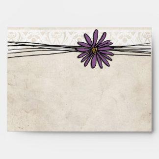 Whimsical Vintage Purple Daisy Envelope