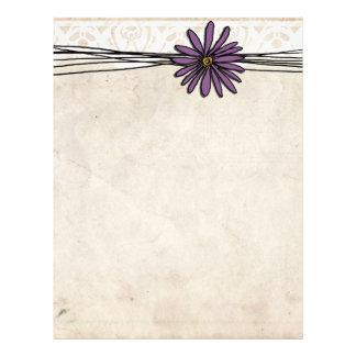 Whimsical Vintage Purple Daisy Letterhead