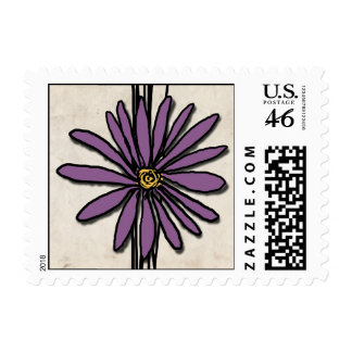 Whimsical Vintage Purple Daisy Postage