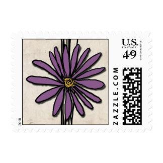 Whimsical Vintage Purple Daisy Postage Stamp