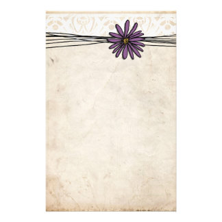 Whimsical Vintage Purple Daisy Stationery Design