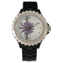 Whimsical Vintage Purple Daisy Wristwatch