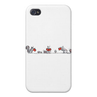 Whimsical Vintage Reading Squirrels Cases For iPhone 4