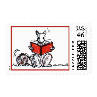Whimsical Vintage Reading Squirrels Stamp