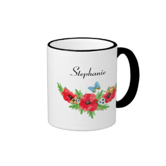 Whimsical Vintage Red Poppy Watercolor With Name Ringer Mug
