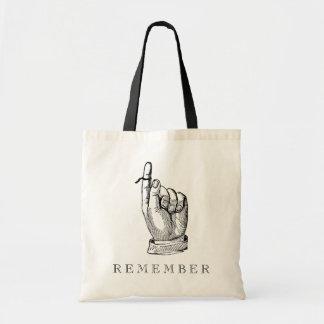 Whimsical Vintage Remember String on Finger Tote Bag