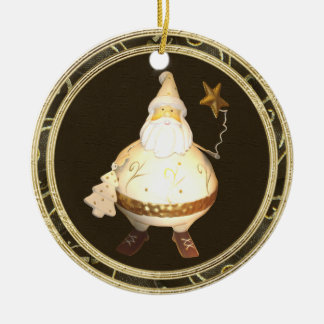 Whimsical Vintage Santa Gold & Brown Ornament