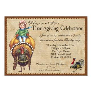 Whimsical Vintage Thanksgiving Invitation