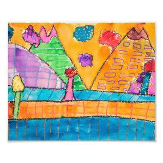 Whimsical Volcano Landscape 8x10 Print