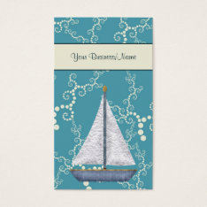 Whimsical Water Nautical Sailboat Business Card at Zazzle