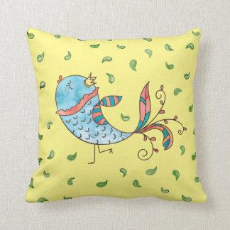 Whimsical Watercolor Bird Cartoon Throw Pillow
