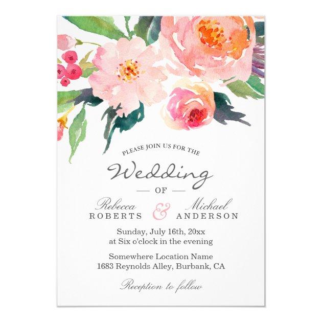 Whimsical Watercolor Botanical Wedding Invitation (back side)