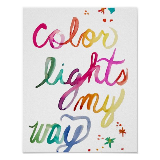 Whimsical Watercolor Brush Lettering Rainbow Color Poster