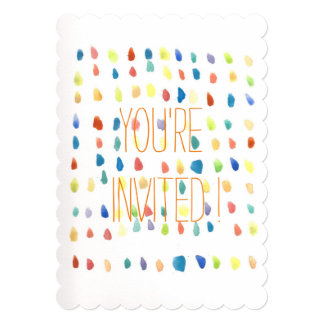 Whimsical WaterColor colorful Invitation cards