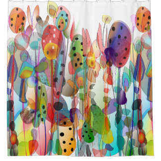Whimsical Watercolor Floral Art Shower Curtain