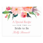 Whimsical Watercolor Floral Bridal Shower Recipe Postcard