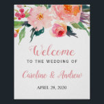 "Whimsical Watercolor Floral Welcome Wedding Sign<br><div class=""desc"">Whimsical Watercolor Floral Welcome Wedding Sign Poster. (1) The default size is 8 x 10 inches, you can change it to any size. (2) For further customization, please click the &quot;customize further&quot; link and use our design tool to modify this template. (3) If you need help or matching items, please...</div>"