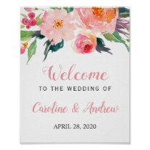 Whimsical Watercolor Floral Welcome Wedding Sign