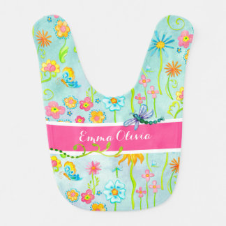 Whimsical Watercolor Flowers Dragonfly Butterfly Bib