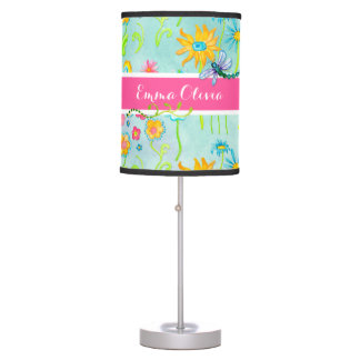 Whimsical Watercolor Flowers Dragonfly Butterfly Desk Lamp