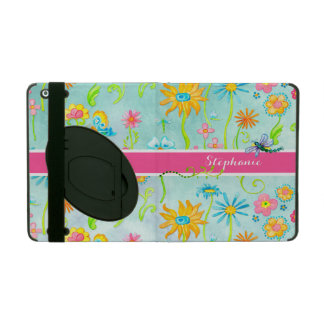 Whimsical Watercolor Flowers Dragonfly Butterfly iPad Cases