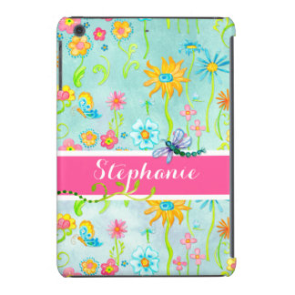 Whimsical Watercolor Flowers Dragonfly Butterfly iPad Mini Retina Case